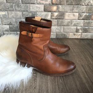 Frye #3476998 brown leather mid calf buckle boot